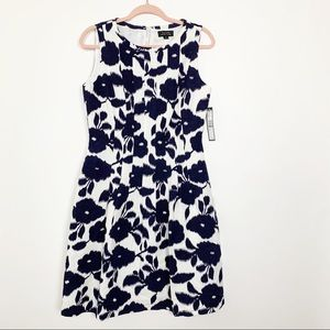 NWT Tahari Navy Floral Fit and Flare Dress 8 #4733